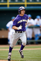 Ty Afenir #3 of the Washington Huskies runs to first base during a baseball game against the UCLA Bruins at Jackie Robinson Stadium on March 17, 2013 in Los Angeles, California. (Larry Goren/Four Seam Images)