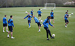 Rangers players all getting a feel for the ball
