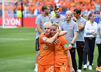 20190707 - LYON , FRANCE : Dutch Jackie Groenen pictured being in tears and being comforted by teammate Inessa Kaagman during the female soccer game between The United States of America – USA-  and the Netherlands – Oranje Leeuwinnen -, the final  of the FIFA Women's  World Championship in France 2019, Sunday 7 th July 2019 at the Stade de Lyon  Stadium in Lyon  , France .  PHOTO SPORTPIX.BE | DAVID CATRY