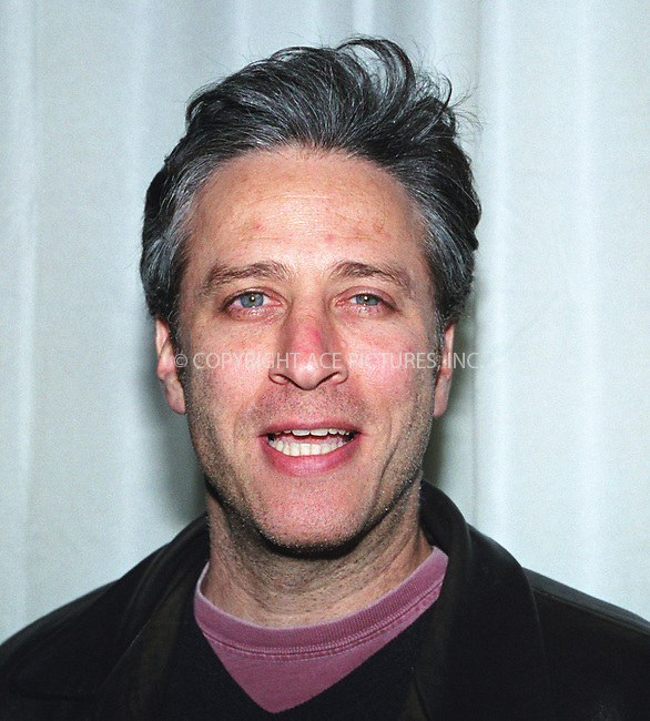 Comedian JON STEWART at the Volvo's 75th Anniversary celebration at the Times Square Studios in New York. March 27, 2002. © 2002 by Alecsey Boldeskul/NY Photo Press.   ..*PAY-PER-USE*      ....NY Photo Press:  ..phone (646) 267-6913;   ..e-mail: info@nyphotopress.com