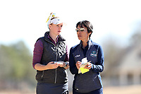 WALLACE, NC - MARCH 09: Mallory Fobes of UNC Wilmington with head coach Cindy Ho at River Landing Country Club on March 09, 2020 in Wallace, North Carolina.