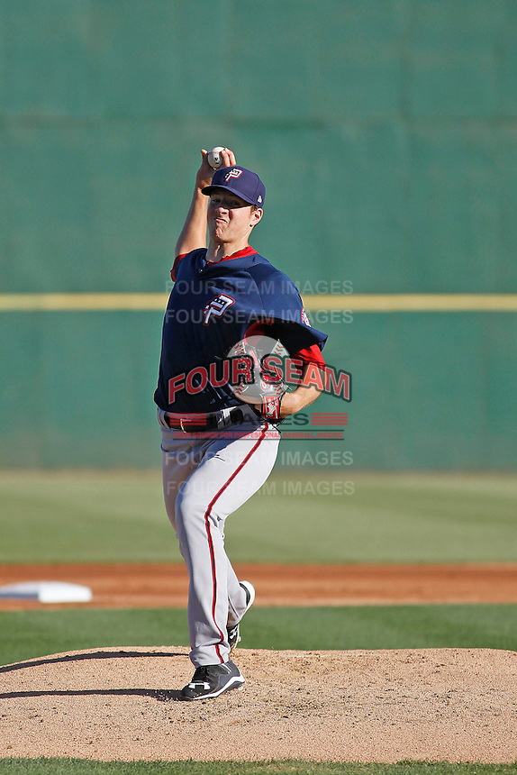Potomac Nationals pitcher Nick Pivetta (40) pitching during a game against the Myrtle Beach Pelicans at Ticketreturn.com Field at Pelicans Ballpark on May 24, 2015 in Myrtle Beach, South Carolina.  Potomac defeated Myrtle Beach 1-0. (Robert Gurganus/Four Seam Images)