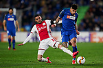 Mathias Olivera of Getafe FC and Hakim Ziyech of AFC Ajax during UEFA Europa League match between Getafe CF and AFC Ajax at Coliseum Alfonso Perez in Getafe, Spain. February 20, 2020. (ALTERPHOTOS/A. Perez Meca)