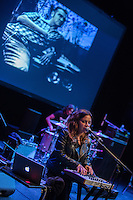 Ceci Bastida plays the keyboard and sings backing vocals during supergroup Mexrrissey's performance of Me Choca Cuando Mis Amigos Triunfan (We Hate it When Our Friends Become Successful) at the Perelman Theater in Philadelphia on October 30, 2016.