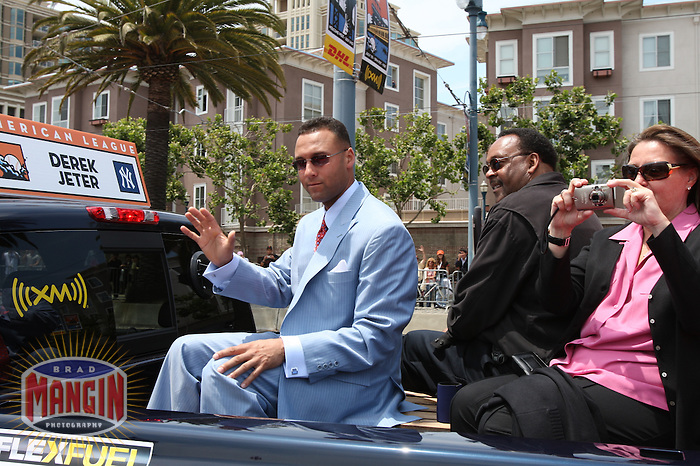 SAN FRANCISCO - JULY 10:  Derek Jeter of the New York Yankees rides in the All Star Game Red Carpet Show before the All Star Game against the National League at AT&T Park in San Francisco, California on July 10, 2007.  Photo by Brad Mangin