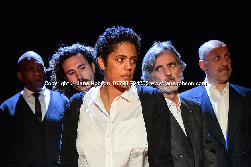 """A brand new adaptation of Albert Camus' """"The Plague"""" opens at the Arcola Theatre. Adapted and directed by Neil Bartlett. Picture shows: Burt Caesar (Grand),  Billy Postlethwaite (Mr Rambert), Sara Powell (Dr Rieux), Martin Turner ( Mr Tarrou), Joe Alessi (Mor Cottard)"""