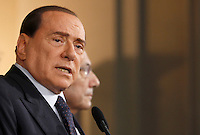 Il leader del Popolo della Liberta' Silvio Berlusconi al termine delle consultazioni col Capo dello Stato per la formazione del nuovo governo, al Quirinale, Roma, 23 aprile 2013..Italian People of Freedom party's leader Silvio Berlusconi meets the press at the end of his talks with Head of State on the formation of a new government, at the Quirinale presidential palace, Rome, 23 April 2013..UPDATE IMAGES PRESS/Isabella Bonotto