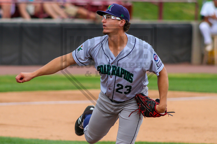 Cedar Rapids Kernels pitcher Logan Lombana (23)  during a Midwest League game against the Wisconsin Timber Rattlers on August 6, 2017 at Fox Cities Stadium in Appleton, Wisconsin.  Cedar Rapids defeated Wisconsin 4-0. (Brad Krause/Krause Sports Photography)
