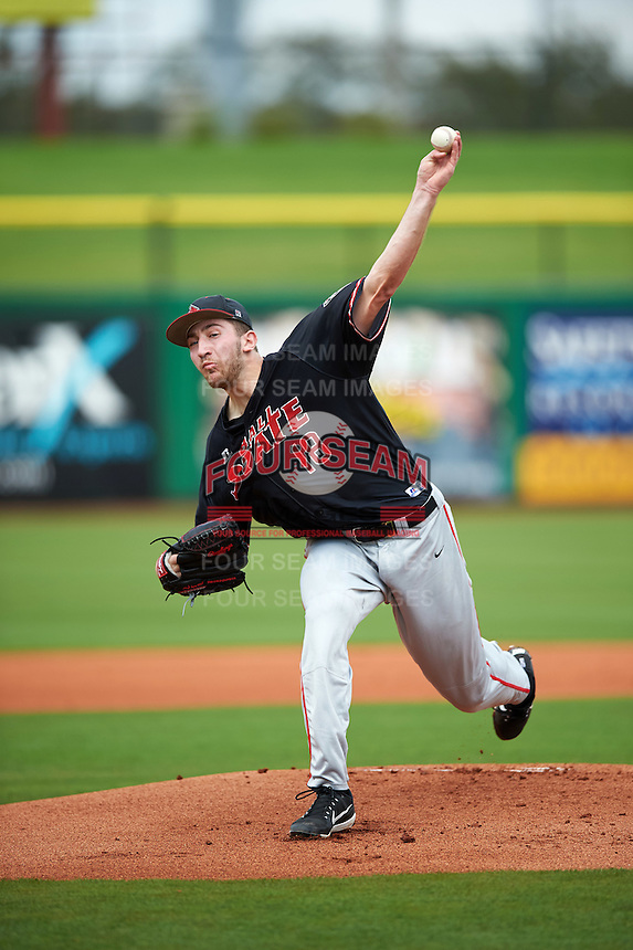 Ball State Cardinals relief pitcher Kevin Marnon (18) delivers a pitch during a game against the Alabama State Hornets on February 18, 2017 at Spectrum Field in Clearwater, Florida.  Ball State defeated Alabama State 3-2.  (Mike Janes/Four Seam Images)
