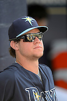 Tampa Bay Rays outfielder Wil Myers #60 in the dugout during a Grapefruit League Spring Training game against the Boston Red Sox at Charlotte County Sports Park on February 25, 2013 in Port Charlotte, Florida.  Tampa Bay defeated Boston 6-3.  (Mike Janes/Four Seam Images)