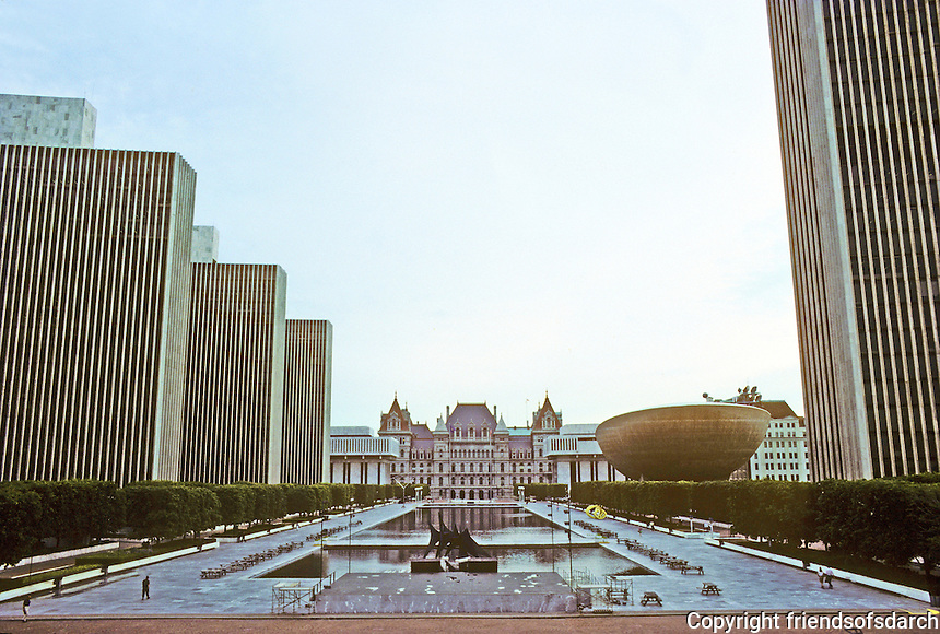 Albany: Empire State Plaza--looking towards State Capitol. Photo '88.