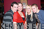 CRAIC: Enjoying the new year festivities in the Cashen bar, Ballybunion were Patrick and Sarah Dee, with Rebecca O'Connor and Jack Cummins, all Ballyduff.   Copyright Kerry's Eye 2008