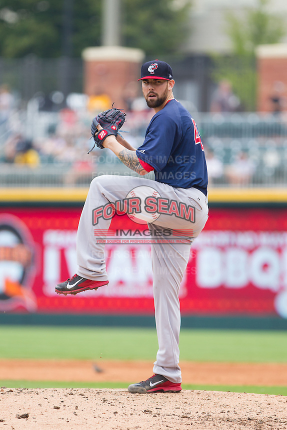 Pawtucket Red Sox starting pitcher Anthony Ranaudo (43) in action against the Charlotte Knights at BB&T Ballpark on August 8, 2014 in Charlotte, North Carolina.  The Red Sox defeated the Knights  11-8.  (Brian Westerholt/Four Seam Images)