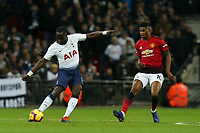 Moussa Sissoko of Tottenham Hotspur and Marcus Rashford of Manchester United during Tottenham Hotspur vs Manchester United, Premier League Football at Wembley Stadium on 13th January 2019