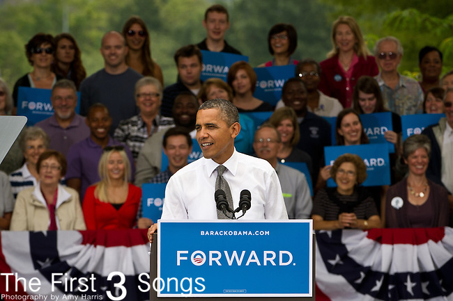 US President Barack Obama speaks during a campaign event at Eden Park September 17, 2012 in Cincinnati, Ohio.