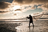 Whitebaiting at Okarito Lagoon estuary by Tasman Sea, Westland National Park, West Coast, South Westland, South Island, World Heritage Area, New Zealand, stock photo