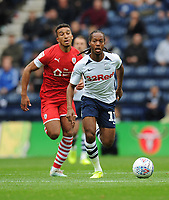 Preston North End's Daniel Johnson under pressure from Barnsley's Jacob Brown<br /> <br /> Photographer Kevin Barnes/CameraSport<br /> <br /> The EFL Sky Bet Championship - Preston North End v Barnsley - Saturday 5th October 2019 - Deepdale Stadium - Preston<br /> <br /> World Copyright © 2019 CameraSport. All rights reserved. 43 Linden Ave. Countesthorpe. Leicester. England. LE8 5PG - Tel: +44 (0) 116 277 4147 - admin@camerasport.com - www.camerasport.com