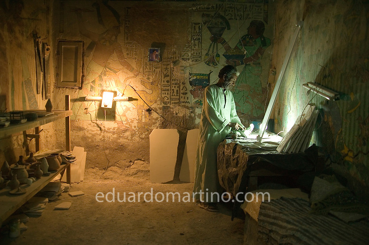 Sid Ahmed making souvenirs to be sold to tourists..Qurna, Luxor, Egypt..Photo: Eduardo Martino