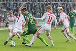 15.04.2018, Weser Stadion, Bremen, GER, 1.FBL, Werder Bremen vs RB Leibzig, im Bild<br /> <br /> Marco Friedl (Werder #32)<br /> Timo Werner (RB Leipzig #11)<br /> <br /> Foto &copy; nordphoto / Kokenge