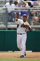 Oral Roberts Golden Eagles third baseman Jose Trevino #5 throws to first during the NCAA Regional baseball game against Baylor University on June 3, 2012 at Baylor Ball Park in Waco, Texas. Baylor defeated Oral Roberts 5-2. (Andrew Woolley/Four Seam Images)