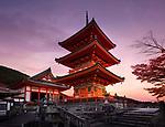 Kiyomizu-dera, Sanjunoto pagoda in Kyoto in beautiful autumn morning sunrise scenery. Kiyomizu-dera Buddhist temple, Higashiyama, Kyoto, Japan 2017.