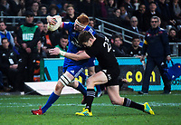 NZ's Jordie Barrett tackles France's Felix Lambey during the Steinlager Series international rugby match between the New Zealand All Blacks and France at Forsyth Barr Stadium in Wellington, New Zealand on Saturday, 23 June 2018. Photo: Dave Lintott / lintottphoto.co.nz