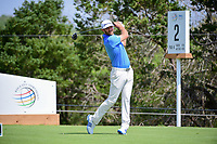 Dustin Johnson (USA) watches his tee shot on 2 during round 7 of the World Golf Championships, Dell Technologies Match Play, Austin Country Club, Austin, Texas, USA. 3/26/2017.<br /> Picture: Golffile | Ken Murray<br /> <br /> <br /> All photo usage must carry mandatory copyright credit (&copy; Golffile | Ken Murray)