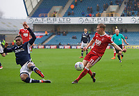 Mahlon Romeo of Millwall blocks a shot from Ben Osborn of Nottingham Forest during the Sky Bet Championship match between Millwall and Nottingham Forest at The Den, London, England on 30 March 2018. Photo by Alan  Stanford / PRiME Media Images.