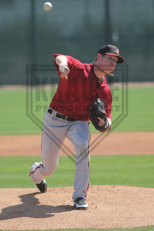 SCOTTSDALE - March 2013: Chase Anderson (27)  of the Arizona DiamondBacks during a Spring Training game against the Oakland A's on March 19, 2013 at Salt River Fields in Scottsdale, Arizona.  (Photo by Brad Krause). .