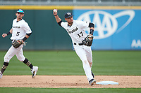 Wake Forest Demon Deacons shortstop Bruce Steel (17) makes a throw to first base against the Furman Paladins at BB&T BallPark on March 2, 2019 in Charlotte, North Carolina. The Demon Deacons defeated the Paladins 13-7. (Brian Westerholt/Four Seam Images)