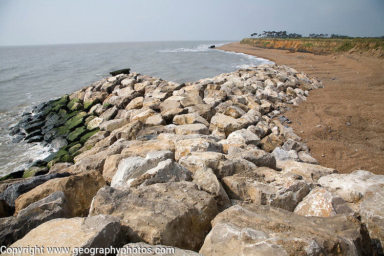 Coastal erosion and management, East Lane, Bawdsey, Suffolk, England.  The new rock armour defences and massive engineering work undertaken in 2009  have been paid for through an Innovative scheme under which local farmers have donated land to be sold land for housing to pay for coastal defences. Bawdsey, Suffolk, England