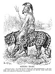 """Sitting Tight. Britannia (to tiger). """"In case you're under any misapprehension, I am not like 'the young lady of Riga.' I propose to return from this ride with our relative positions unchanged."""""""