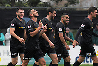 Team Wellington's Mario Barcia celebrates his goal. OFC Champions League 2018, 1st Leg Final, Team Wellington v Lautoka FC, David Farrington Park, Wellington, Sunday 13th April 2018. Photo: Dave Lintott / www.phototek.nz