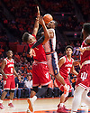 Jan 24, 2018; Champaign, IL, USA; Illinois Fighting Illini forward Leron Black (12) shoots defended by Indiana Hoosiers forward Juwan Morgan (13) during the first half at State Farm Center. Mandatory Credit: Mike Granse-USA TODAY Sports