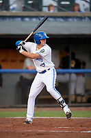 Bluefield Blue Jays first baseman Andy McGuire (29) at bat during the second game of a doubleheader against the Bristol Pirates on July 25, 2018 at Bowen Field in Bluefield, Virginia.  Bristol defeated Bluefield 5-2.  (Mike Janes/Four Seam Images)