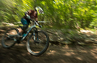 NWA Democrat-Gazette/BEN GOFF @NWABENGOFF<br /> Racers compete Saturday, Aug. 18, 2018, during the Eureka Springs round of the Arkansas Enduro Series at Lake Leatherwood City Park. The event continues Sunday with stages at the Passion Play trails and an urban downhill leg through downtown Eureka Springs. The fifth and final race of the Arkansas Enduro Series season takes place Sept. 22 at the Coler Mountain Bike Preserve in Bentonville. Enduro is a type of mountain bike race with multiple time trial stages that are mostly downhill and technical. The downhill stages are linked together by untimed transition stages or shuttle buses.