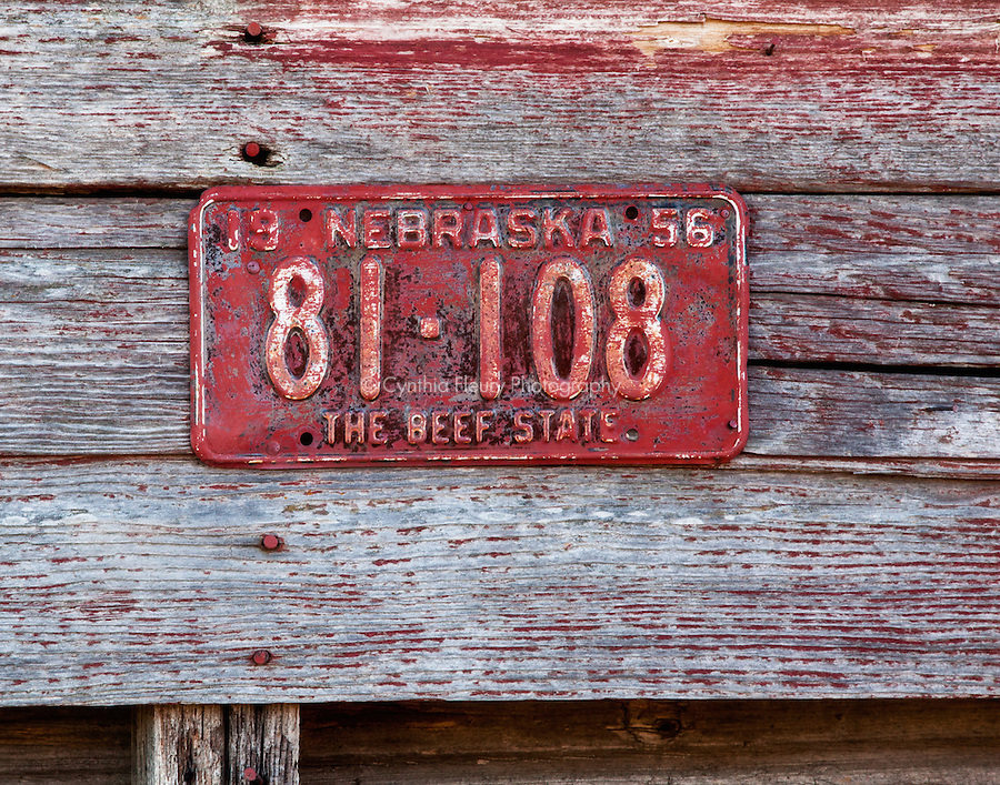 Red Vintage License Plate on Barn Nebraska