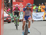 Thibaut Pinot (FRA) Groupama-FDJ crosses the finish line in 4th place with Rigoberto Uran (COL) EF-Drapac-Cannondale behind at the end of Stage 20 of the La Vuelta 2018, running 97.3km from Andorra Escaldes-Engordany to Coll de la Gallina, Spain. 15th September 2018.                   <br /> Picture: Colin Flockton | Cyclefile<br /> <br /> <br /> All photos usage must carry mandatory copyright credit (&copy; Cyclefile | Colin Flockton)