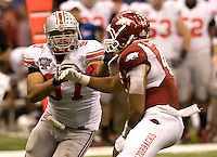 Cameron Heyward of Ohio State in action against Arkansas during 77th Annual Allstate Sugar Bowl Classic at Louisiana Superdome in New Orleans, Louisiana on January 4th, 2011.  Ohio State defeated Arkansas, 31-26.