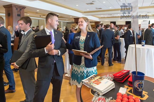 Sept. 10, 2015; Business graduate student career fair in Club Naimoli. (Photo by Matt Cashore/University of Notre Dame)