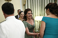 Pictured L-R: The Prime Minister's wife Betty (Peristera) Baziana (C) during the official state dinner at the Presidential Mansion in Athens, Greece. Wednesday 09 May 2018 <br /> Re: Official visit of HRH Prnce Charles and his wife the Duchess of Cornwall to Athens, Greece.