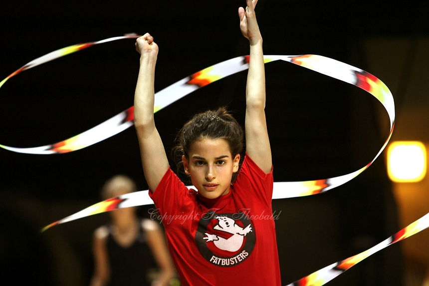 Ines Gomes of Portugal waves with ribbon during early training at 2006 Thiais Grand Prix in Paris, France on March 23, 2006.  (Photo by Tom Theobald)