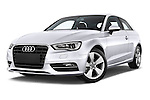 Low aggressive front three quarter view of a 2013 - 2014 Audi A3 Ambition 3-Door Hatchback.