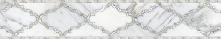 """7 3/16"""" Dervish border, a waterjet and hand-cut mosaic shown in polished Calacatta Tia, is part of the Silk Road® collection by New Ravenna."""