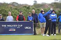 Euan Walker (GB&I) on the 4th tee during the Foursomes at the Walker Cup, Royal Liverpool Golf CLub, Hoylake, Cheshire, England. 07/09/2019.<br /> Picture Thos Caffrey / Golffile.ie<br /> <br /> All photo usage must carry mandatory copyright credit (© Golffile | Thos Caffrey)