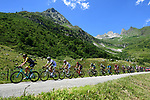 The breakaway group in action during Stage 12 of the 2018 Tour de France running 175.5km from Bourg-Saint-Maurice les Arcs to Alpe D'Huez, France. 19th July 2018. <br /> Picture: ASO/Alex Broadway | Cyclefile<br /> All photos usage must carry mandatory copyright credit (&copy; Cyclefile | ASO/Alex Broadway)