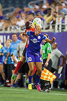 Orlando, Florida - Sunday, May 14, 2016: Western New York Flash defender Jaelene Hinkle (15) and Orlando Pride midfielder Lianne Sanderson (10) collide during a National Women's Soccer League match between Orlando Pride and New York Flash at Camping World Stadium.