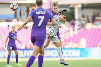 Orlando, FL - Sunday May 14, 2017: Debinha, Dani Weatherholt during a regular season National Women's Soccer League (NWSL) match between the Orlando Pride and the North Carolina Courage at Orlando City Stadium.