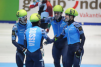 SHORTTRACK: DORDRECHT: Sportboulevard Dordrecht, 25-01-2015, ISU EK Shorttrack, Relay Men Final, Vladimir GRIGOREV (#62), Victor AN (#60), Dmitry MIGUNOV (#63), Semen ELISTRATOV (#61), winner Team Russia, ©foto Martin de Jong