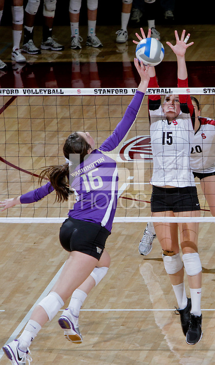 STANFORD, CA - October 15, 2011:  Karissa Cook blocks a shot during Stanford's 3-0 victory over Washington in Stanford, California on October 15, 2011.